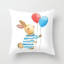 Bunny & Balloons Throw Pillow
