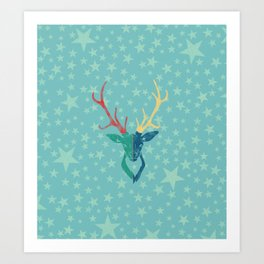 Colorful Stag (Red, Yellow, Green, Blue) Art Print