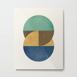 Circle color pieces abstract geometric Metal Print