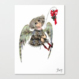 cute little angel with wings holding a little bell with a red ribbon, illustration Canvas Print