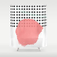 polka dot Shower Curtains featuring polka dot by Ceren Aksu Dikenci
