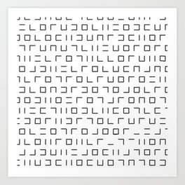 Code Breaker - Abstract, black and white, minimalist artwork Art Print