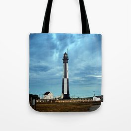 New Cape Henry Lighthouse Under Ominous Clouds Tote Bag