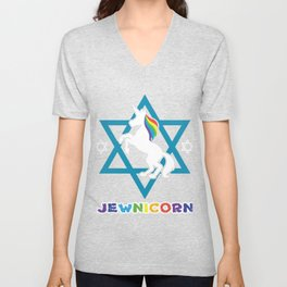 Jew David Star Unicorn Rainbow Gift Unisex V-Neck