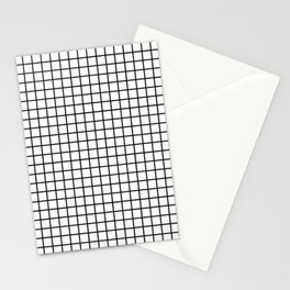 Black and White Grid Graph Stationery Cards