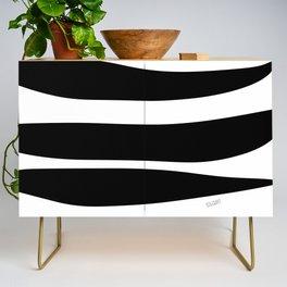 Irregular Stripes Black White Waves Art Design Credenza