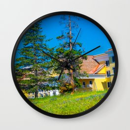Yellowstone Lake Hotel Print Wall Clock