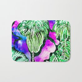 Space Tropic | Modern green tropical palm tree forest photography illustration nebula color block Bath Mat
