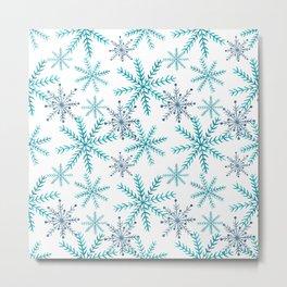 Blue Snowflakes Metal Print
