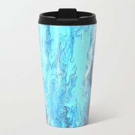 Fluid Acrylic Blue Abstract Painting - When it Rains Travel Mug