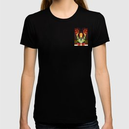 Symmetrical Red Flowers in Striped Pot T-shirt