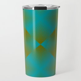 gradient squares pattern aqua olive Travel Mug