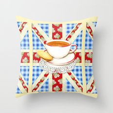 Union Jack and a Cup of Tea Throw Pillow