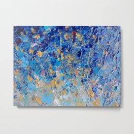HYPNOTIC BLUE SUNSET - Simply Beautiful Royal Blue Navy Turquoise Aqua Sunrise Abstract Nature Decor Metal Print
