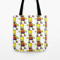 simpson Tote Bags featuring Bart Simpson by GOONS