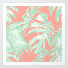 Island Love Coral Pink + Light Green Art Print