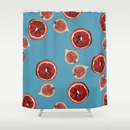 Pomegranate - Figs Pattern turquoise Shower Curtain