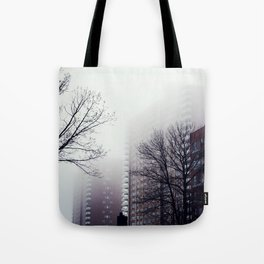 Foggy Day in Queens, New York City Tote Bag