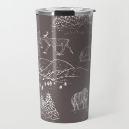 Arctic Wildlife Pattern (Taupe and White) Travel Mug