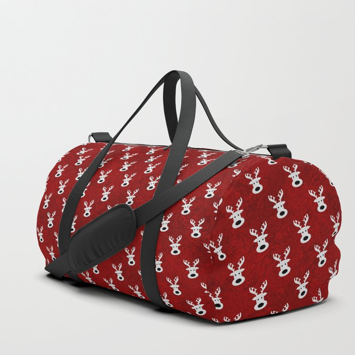 Christmas reindeer red marble Duffle Bag