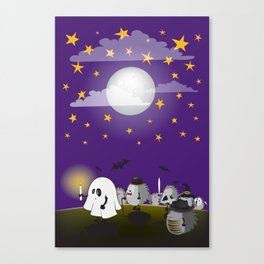 halloween hedgehogs party gang Canvas Print