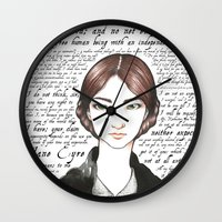 jane eyre Wall Clocks featuring Jane Eyre by Makissima