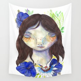 Girl and exotic blue flowers Wall Tapestry