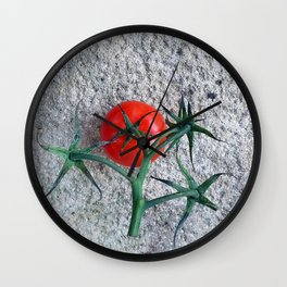 Ripe Red Tomato and Stems Wall Clock