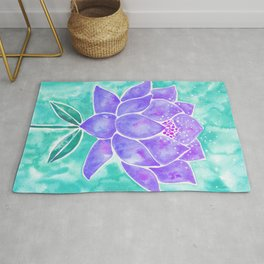 Sacred Lotus – Lavender Blossom on Mint Palette Rug