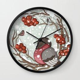 Bullfinch under snow Wall Clock