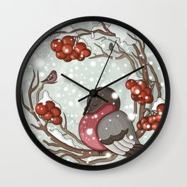 Bullfinch under snow Wall Clock