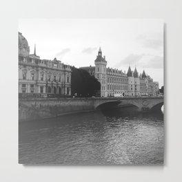 River Seine Photography Art Print Monochrome Black and White Metal Print