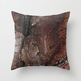 burned wood texture Throw Pillow