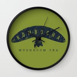 Kombucha Mushroom Tea // Moss Green and Blue Abstract Graphic Design Artwork Wall Clock