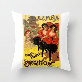 Belle Epoque vintage poster, Olympia, Grand Ballet Throw Pillow