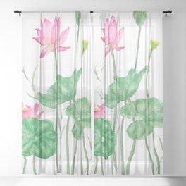 pink lotus flowers watercolor Sheer Curtain