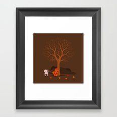 the fall and dog Framed Art Print