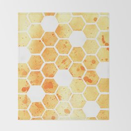 Golden Honeycomb Throw Blanket