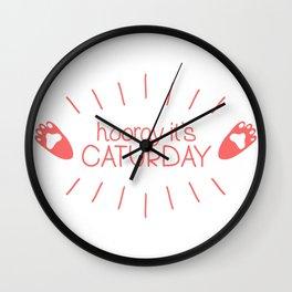 Hooray it's Caturday! Wall Clock