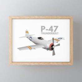 WW2 P-47 Thunderbolt Airplane Framed Mini Art Print
