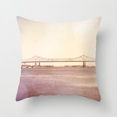 Greater New Orleans Bridge over the Mississippi Throw Pillow