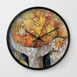 Materic composition of yellows and oranges Wall Clock