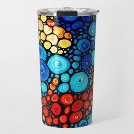 Pure Koi Joi - Mosaic Fish Art Painting by Sharon Cummings Travel Mug