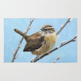 Brown House Wren Bird Art Rug