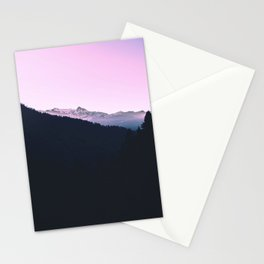 Mountain Forest Sky Pink Pastel Stationery Cards