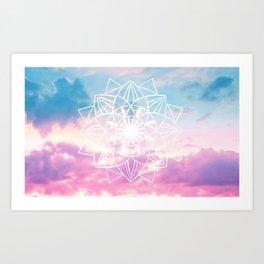 Star Mandala Unicorn Pastel Clouds #3 #decor #art #society6 Art Print