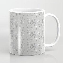 Vector pattern from silver black plants and grass blades on a gray background in vintage style. For Coffee Mug