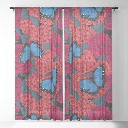 Blue morpho Sheer Curtain