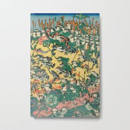 Frog Battle Japanese Print by Kawanabe Kyosai, 1864 Metal Print