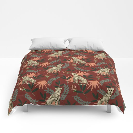 Leopard. Tropical red pattern by artcolours